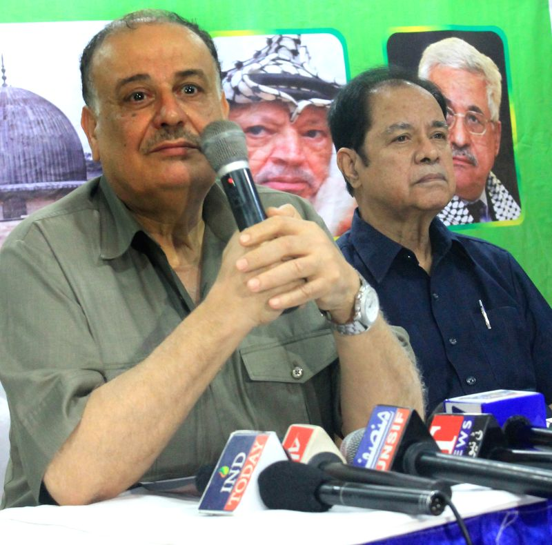 The Ambassador of Palestine to India, Adli Hassan Shaban Sadeq addresses a press conference in Hyderabad on Aug 3, 2014.
