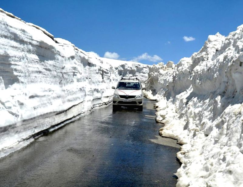 The Anantnag -Kishtwar road at Sinthan Top after it was opened for public in Anantnag district of Jammu & Kashmir.
