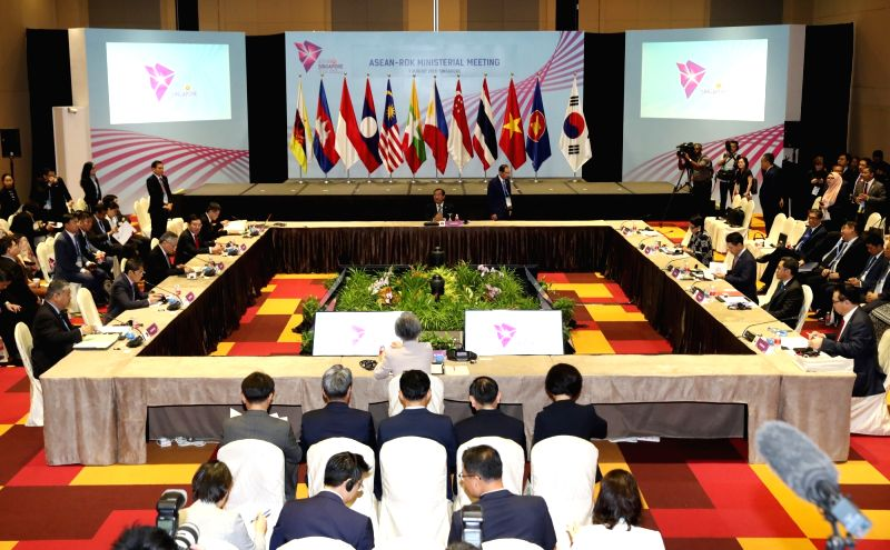 The annual ASEAN-Korea ministerial meeting takes place in Singapore on Aug. 3, 2018.