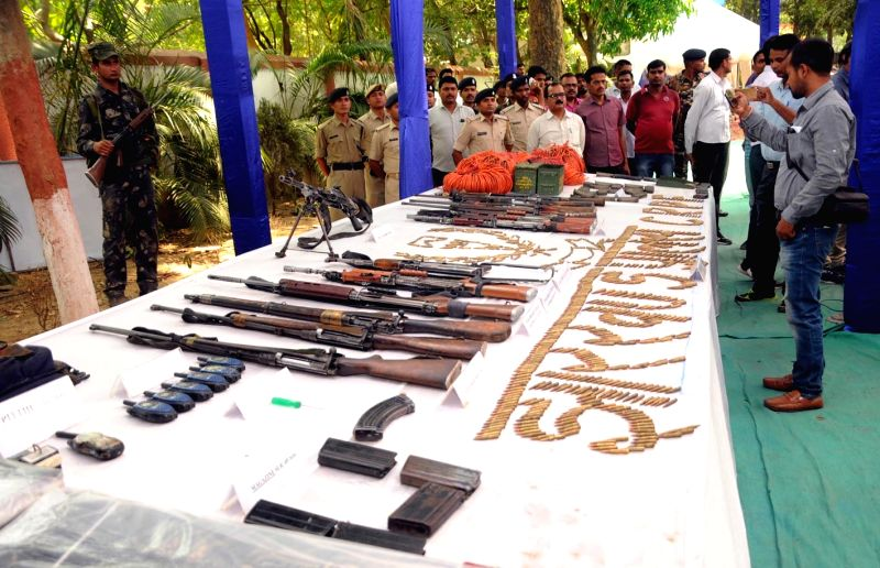 The arms that were recovered by the Central Reserve Police Force and the Jharkhand Police during an anti-Maoist operation on display in Ranchi on May 4, 2017. The operation was carried out on ... - Nakul Yadav