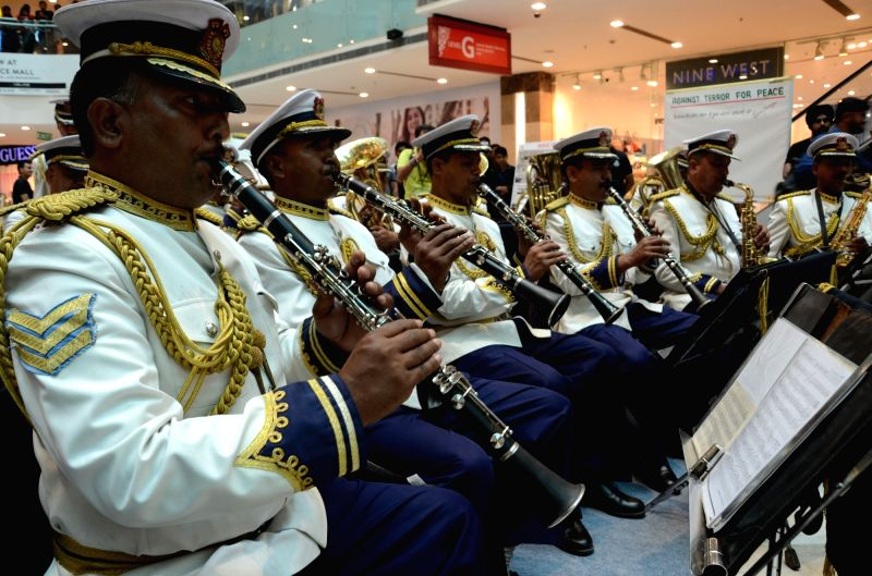 The band of India's one of the elite forces perform at a Gurugram shopping mall on Anti Terrorism Day on May 21, 2017.