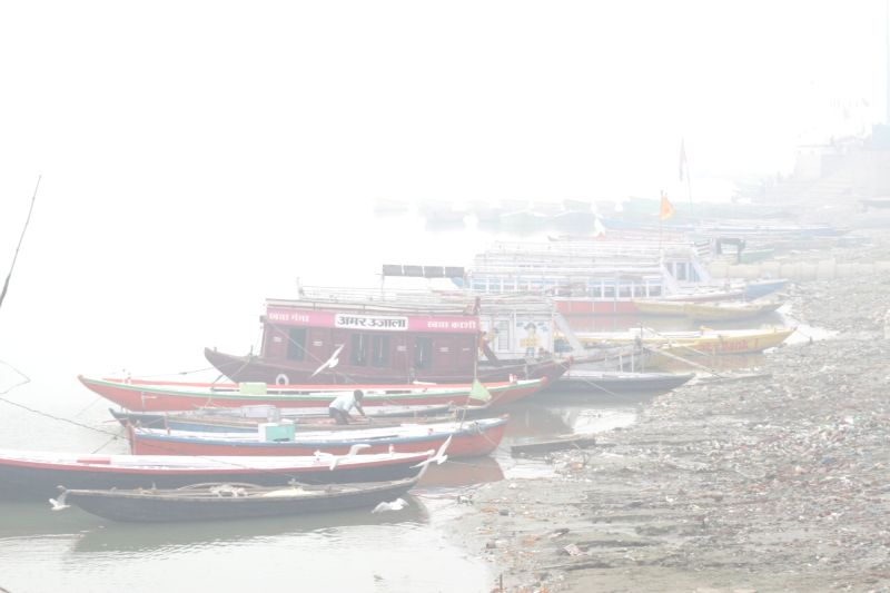 The boats remain anchored on the banks of Ganga due to security reasons ahead of Modi-Abe visit, in Varanasi, on Dec 12, 2015.