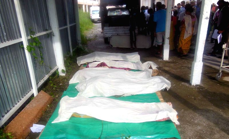 The bodies of alleged NDFB (S) cadres who were killed in a joint operation carried out by Chirang Police, 18 Mahar Regiment of Indian Army and 210 COBRA in Chirang on Aug 20, 2014.