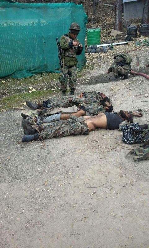 The bodies of the militants killed in an encounter in the outer cordon at Tangdhar sector of Kupwara on Nov 25, 2015.