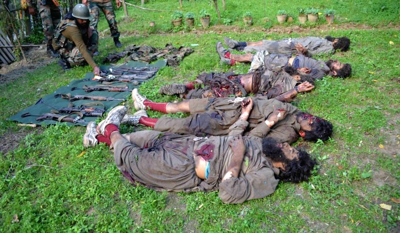 The bodies of the militants killed in an encounter at Drugmulla near Kupwara in Kashmir on May 21, 2016.