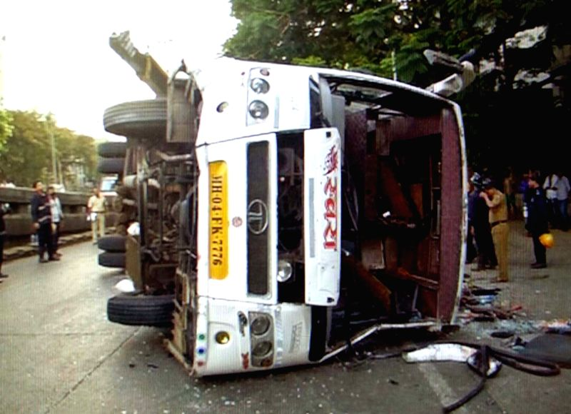 The Borivali-bound bus that hit a divider and overturned at Mumbai's Dadar circle reportedly killing one passenger and injuring 34 others on May 21, 2017.