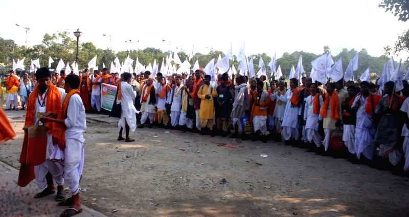 The Bramhins of South 24 Parganas take out a protest rally for 'Nabanna March' with their various demands at Sahid Minar Maidan in Kolkata on Nov 22, 2017.