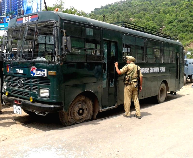 The BSF bus that was attacked by militants on the Jammu-Srinagar highway in Udhampur district of Jammu and Kashmir on Aug 5, 2015. Two soldiers were killed and 11 others injured in the attack.