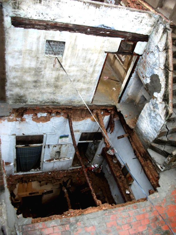 The building in Lachmansar Chowk, the roof of which caved in, killing one, due to incessant rains in Amritsar on Sept 4, 2014.