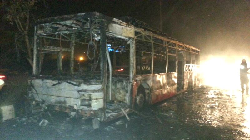 The bus that caught fire near ITO in New Delhi on May 18, 2017.