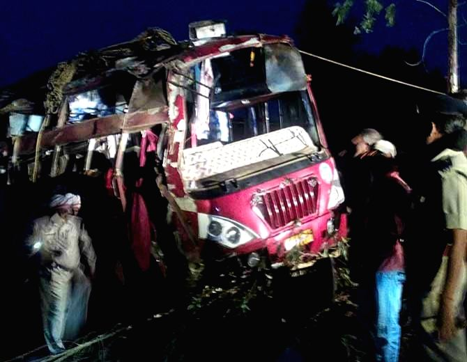 The bus that fell in a gorge killing at least six persons and 29 others injured in Madhya Pradesh' Dindori early on May 21, 2017.