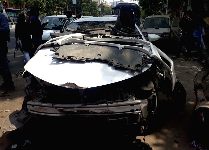 The car involved in an accident in which actor Vikram Chatterjee and a co-passenger suffered injuries in Kolkata on April 29, 2017. - Vikram Chatterjee