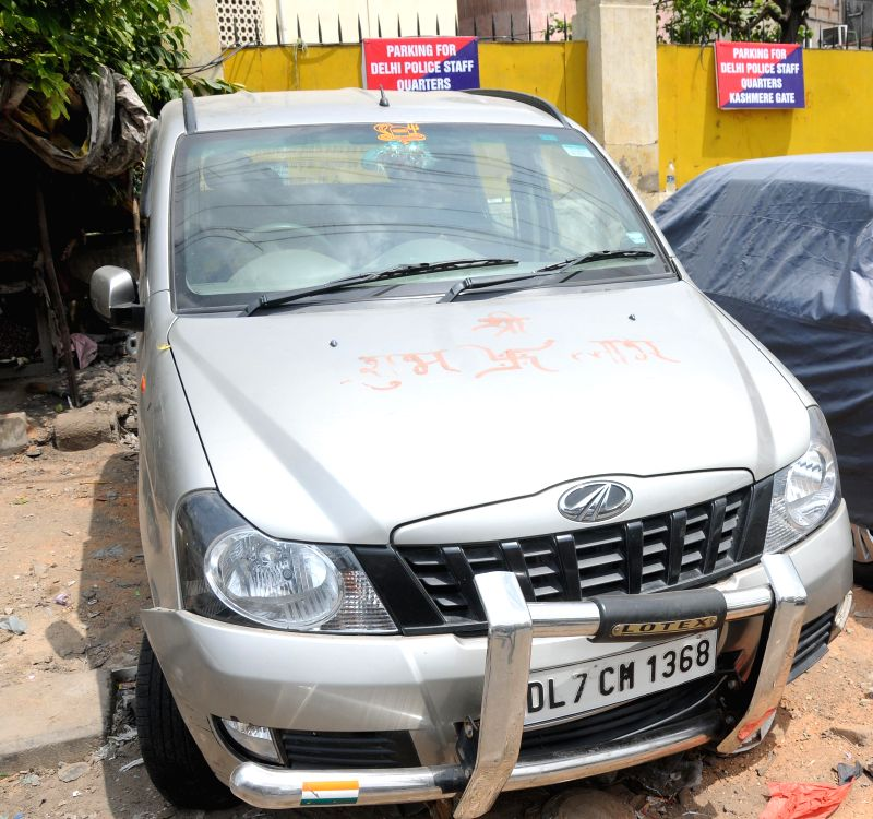 The car which was impounded by the police after its driver ran over 13 labourers sleeping on a road divider, killing one of them, near Nigambodh Ghat in east Delhi, parked at Kashmere Gate police ...
