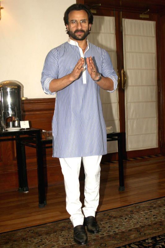 The cast of film Humshakals Saif Ali Khan during a press meet in New Delhi on 16 June 2014.