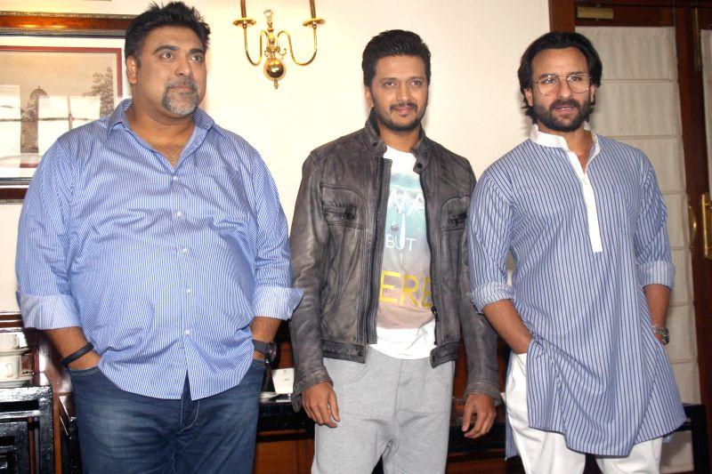 The cast of film Humshakals Saif Ali Khan, Riteish Deshmukh and Ram Kapoor during a press meet in New Delhi on 16 June 2014. - Riteish Deshmukh and Kapoor