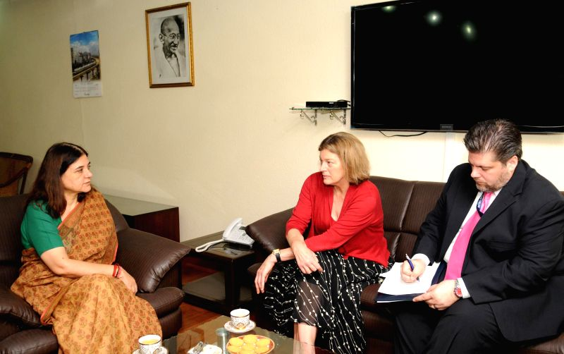 The Charge d` Affaires of US Embassy to India Kathleen Stephens calls on the Union Minister for Women and Child Development Maneka Sanjay Gandhi, in New Delhi on Aug. 25, 2014.
