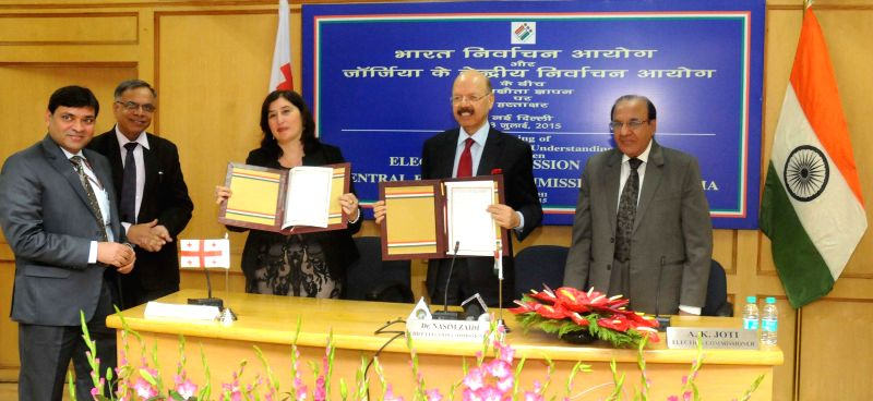 The Chief Election Commissioner, Dr. Nasim Zaidi and the Chairperson of Central Election Commission of Georgia Tamar Zhuvania during a programme organised to sign MoU between the Election ...