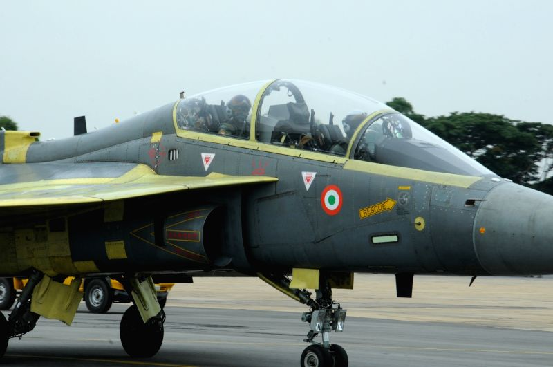 The Chief of Air Staff Air Chief Marshal Arup Raha in LCA (Tejas) in Light Combat Aircraft (Tejas) at HAL Bangalore on May 17, 2016.
