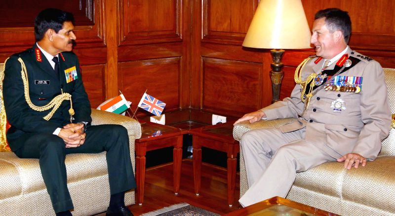 The Chief of Army Staff General Dalbir Singh meets the Chief of Gen. Staff, UK, Sir Nicholas Patrick Carter, in New Delhi on Feb 9, 2015.