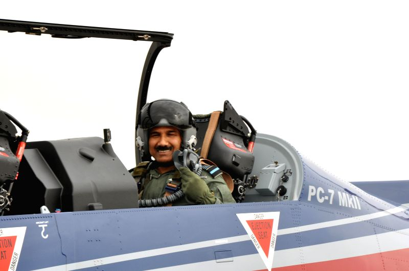 The Chief of the Air Staff, Air Chief Marshal Arup Raha on a sortie in the Basic Trainer Pilatus PC7 MKII Aircraft, at the Air Force Academy, Dundigal, Hyderabad on June 20, 2014.