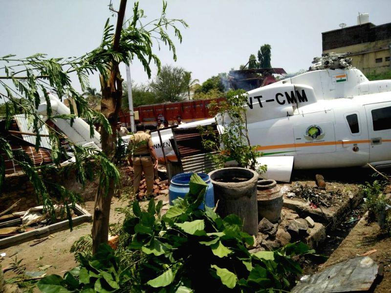 The chopper carrying Maharashtra Chief Minister Devendra Fadnavis and his team that crash-landed in Latur of Maharashtra on May 25, 2017. - Devendra Fadnavis