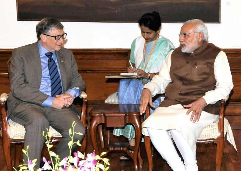 The Co-Chair and Trustee of Bill and Melinda Gates Foundation (BMGF) Bill Gates calls on the Prime Minister Narendra Modi, in New Delhi on Dec 4, 2015. - Narendra Modi