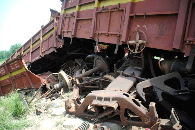 The coaches of a goods train which jumped tracks near Motihari in East Champaran district of Bihar on June 25, 2014.