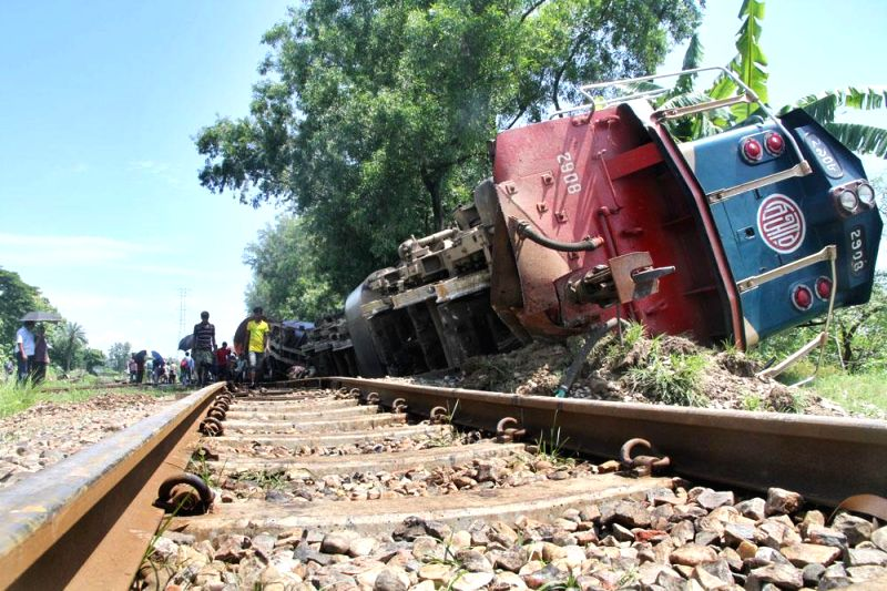 The coaches of Chittagong-bound container train which veered off the tracks at Narsinghdi of Bangladesh on July 9, 2014.