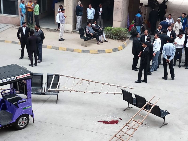 The corridor near canteen area where an undertrial prisoner Vinod alias Balle was shot dead when he was being taken back from the Rohini court in New Delhi on Nov 13, 2017. According to ... - Abdul Khan