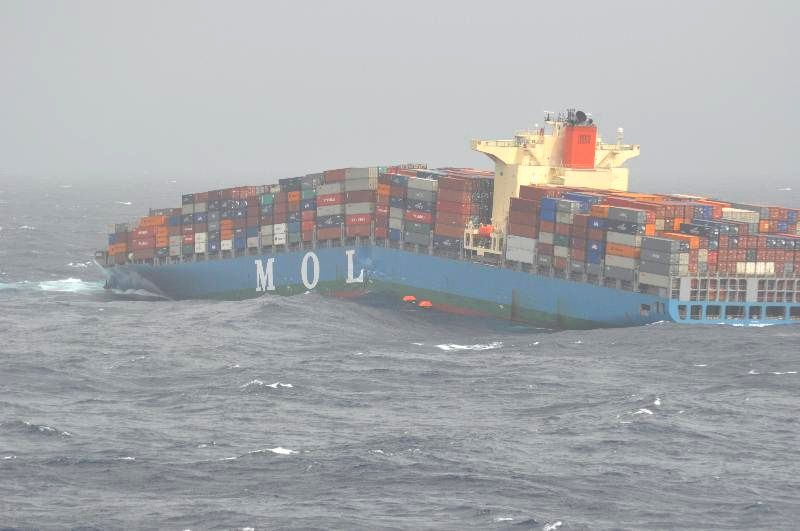 The cracked hull of the MV Mol Comfort. Scenes at sea as the ship was sinking.
