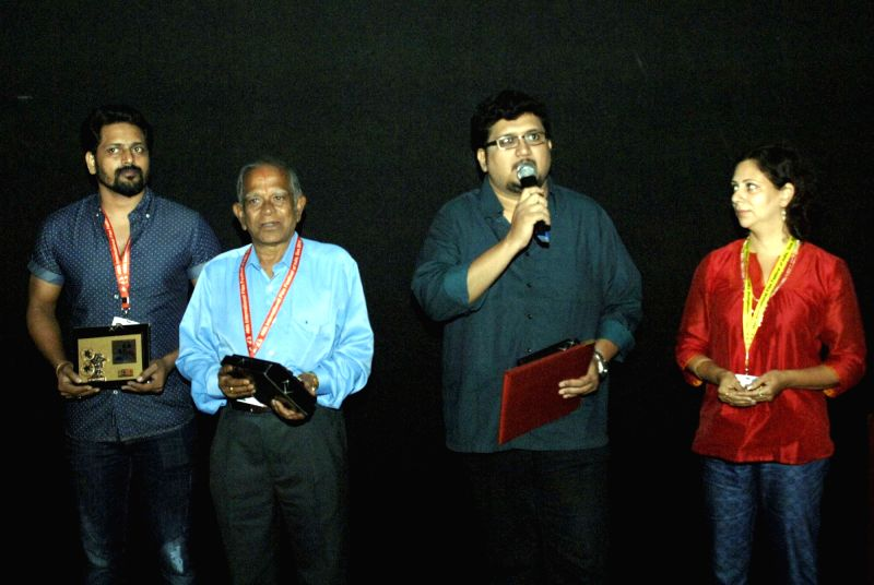 The crew of 'RADIOPETTI' being felicitated at the 46th International Film Festival of India (IFFI-2015), in Panaji, Goa on Nov 26, 2015.