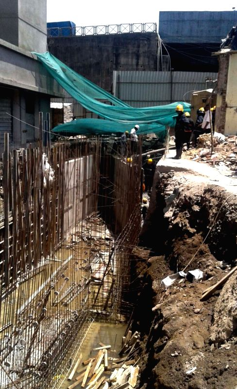 The debris of a building wall which collapsed in Kanjurmarg's Karvenagar in northeast Mumbai on May 7, 2016.