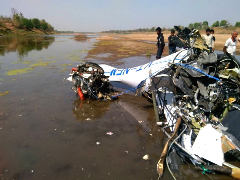 The debris of a training aircraft that crashed near Birsi Airport at Gondia in East Vidarbha of Maharashtra on April 26, 2017.