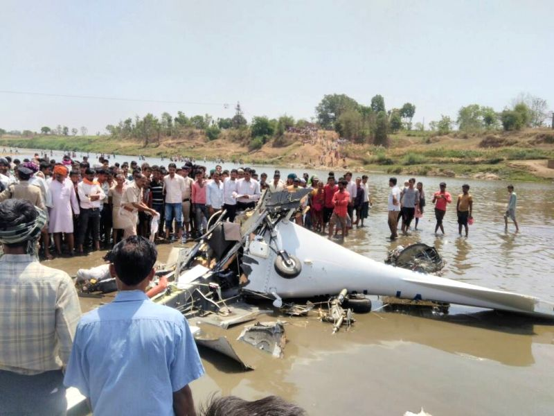 The debris of a training aircraft that crashed near Birsi Airport at Gondia in East Vidarbha of Maharashtra on April 26, 2017. Pilot Ranjan Gunta and student pilot Himani died when the ...