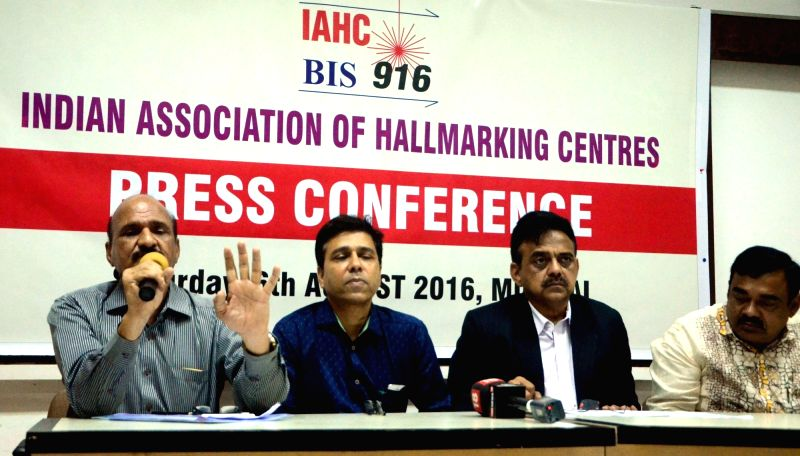 The delegates of Indian Association of Hallmarking Centre during press conference in Mumbai on Aug. 6, 2016.