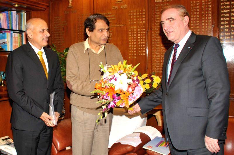The Director General of International Union of Railways Jean-Pierre Loubinoux meets the Union Minister for Railways Suresh Prabhakar Prabhu, in New Delhi on Dec 10, 2015. - Suresh Prabhakar Prabhu