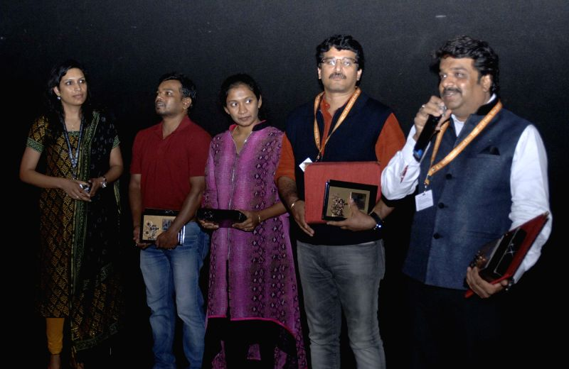 The Director of 'Naanu Avanalla...Avalu', B.S. Lingadevaru being felicitated at the 46th International Film Festival of India (IFFI-2015), in Panaji, Goa on Nov 27, 2015.