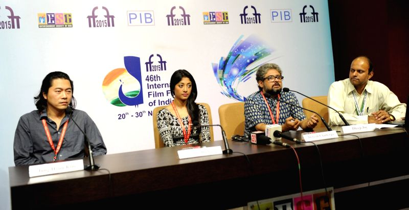 The Directors, Dabesh Chatterjee and Jung Hyun Kim and actor, Paoli Dam at a press conference, during the 46th International Film Festival of India (IFFI-2015), in Panaji, Goa on Nov 26, 2015.