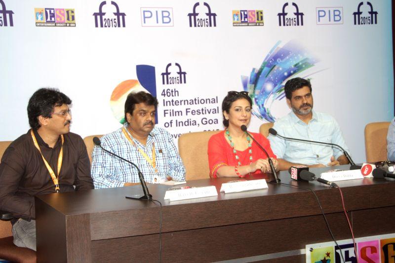 The Directors, Nitin Kakkar, Iram Ghuffran, B. S. Lingadevaru and actress Divya Duttta at a press conference, during the 46th International Film Festival of India (IFFI-2015), in Panaji, Goa ...