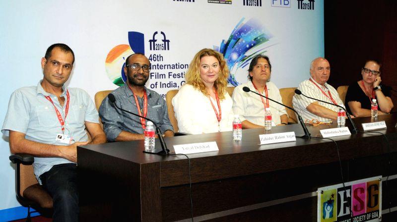 The Directors, Yuval Delshad (Baba Joon), Zahidur Rahim Anjan, Slobodanka Radun and Diego Jimenez at 'Meet the Director' Press Conference, at the 46th International Film Festival of India ...