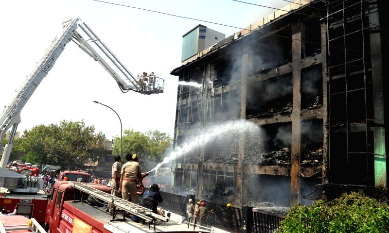 The electronics factory building where a massive fire broke out killing six persons in Noida on 19th April, 2017.