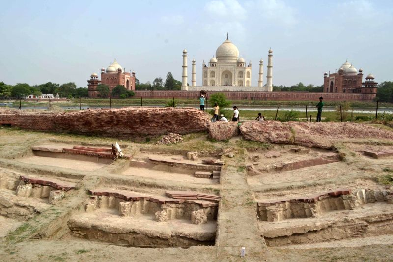 The excavation work underway at Mahtab Bagh in Agra on July 1, 2014.
