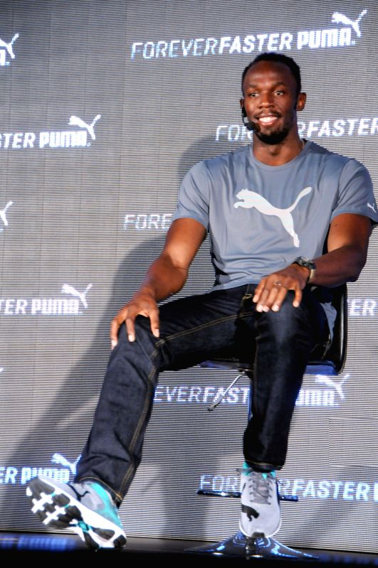 The fastest runner on the planet Usain Bolt during a press conference in Bangalore on Sept 2, 2014.