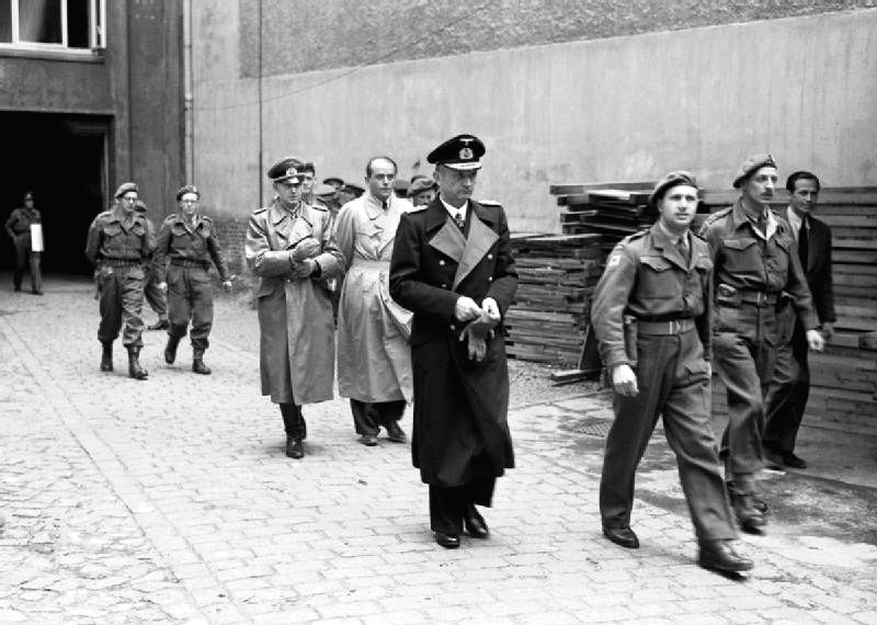 The final end to the Third Reich: Hitler\'s successor, Grand Admiral Karl Doenitz being arrested on May 23, 1945