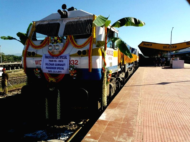 The first passenger train all set to depart for Guwahati from Silchar on the newly converted Silchar-Lumding BG section.