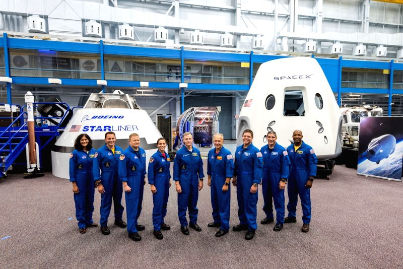 The first US astronauts who will fly on American-made, commercial spacecraft to and from the International Space Station, are, from left, Sunita Williams, Josh Cassada, Eric Boe, Nicole Mann, ...