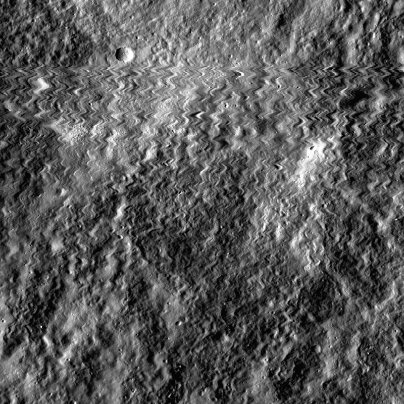 The first wild back-and-forth line records the moment on October 13, 2014 when the camera aboard NASA?s Lunar Reconnaissance Orbiter (LRO) was struck by a meteoroid. Photo: NASA