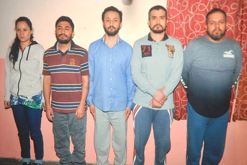 The five Colombian nationals arrested by the Jayanagar Police in connection with Burglary cases in the city, in Bengaluru on July 18, 2018.