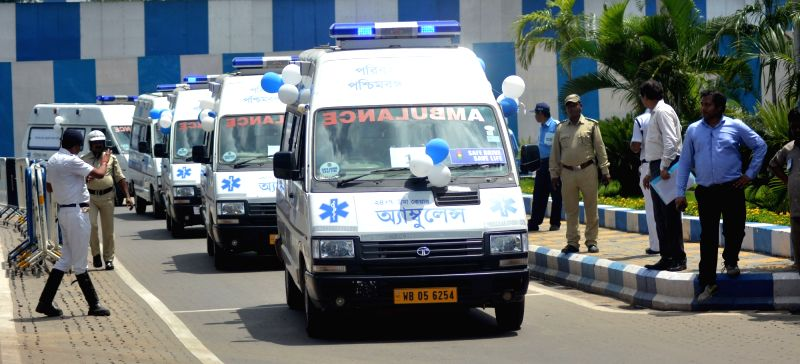 The fleet of Trauma Care AC ambulance that were flagged off by West Bengal Chief Minister Mamata Banerjee  at Nabanna in Howrah on July 18, 2018. - Mamata Banerjee