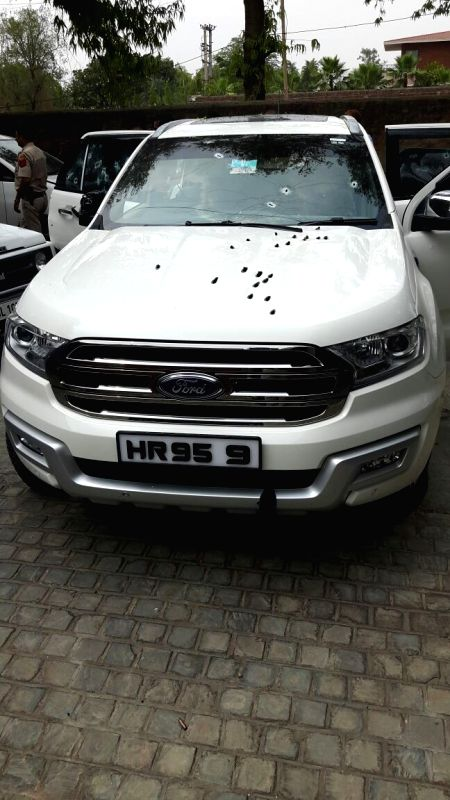 The Ford Endeavour car in which wanted criminal Rajesh Bharti was travelling along with three of his accomplices when they were brought down in a police encounter in the Chattarpur area of ...